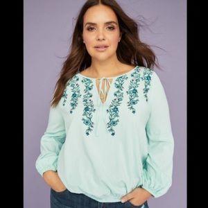 Lane Bryant 18 embroidered boho peasant blouse